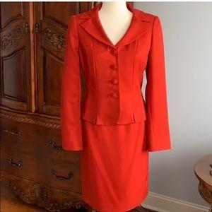 Le Suit 2 piece red skirt suit - size 4